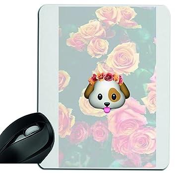 Druckerlebnis24 Alfombrilla de ratón perros cabeza con Rosario y rosas en el fondo, reposamuñecas