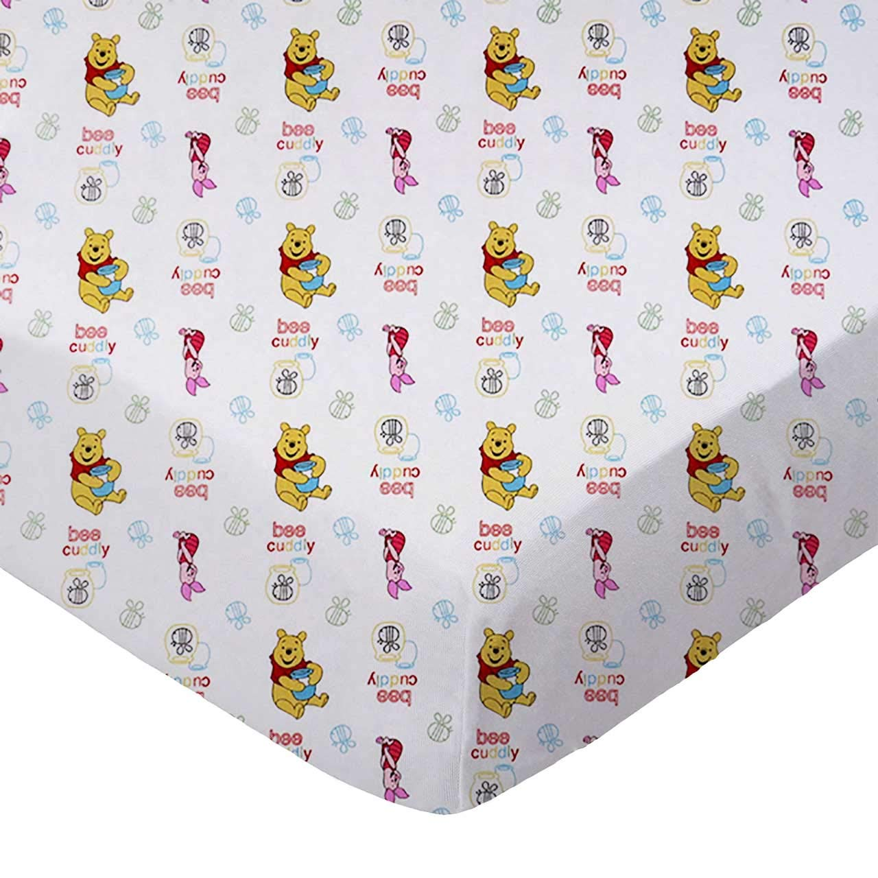 SheetWorld Fitted 100% Cotton Percale Portable Mini Crib Sheet 24 x 38, Pooh Bee Cuddly, Made in USA by SHEETWORLD.COM