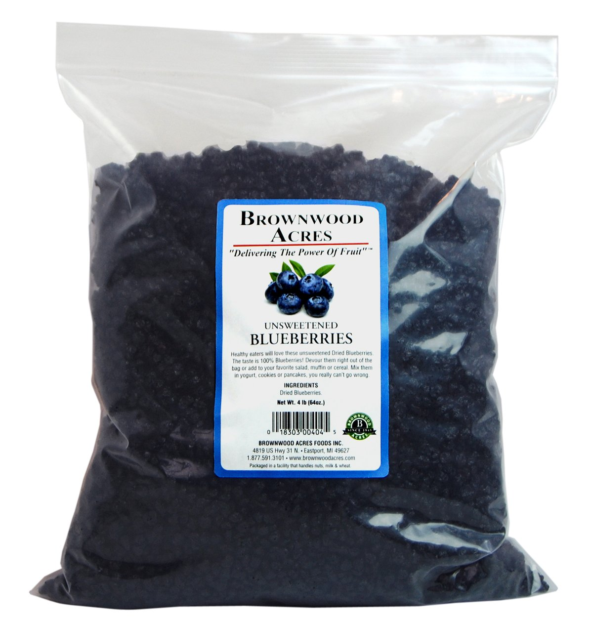 Unsweetened Dried Blueberries by Brownwood Acres - No Added Sugars, Oils or fillers - Just Blueberries! (4 Pound)