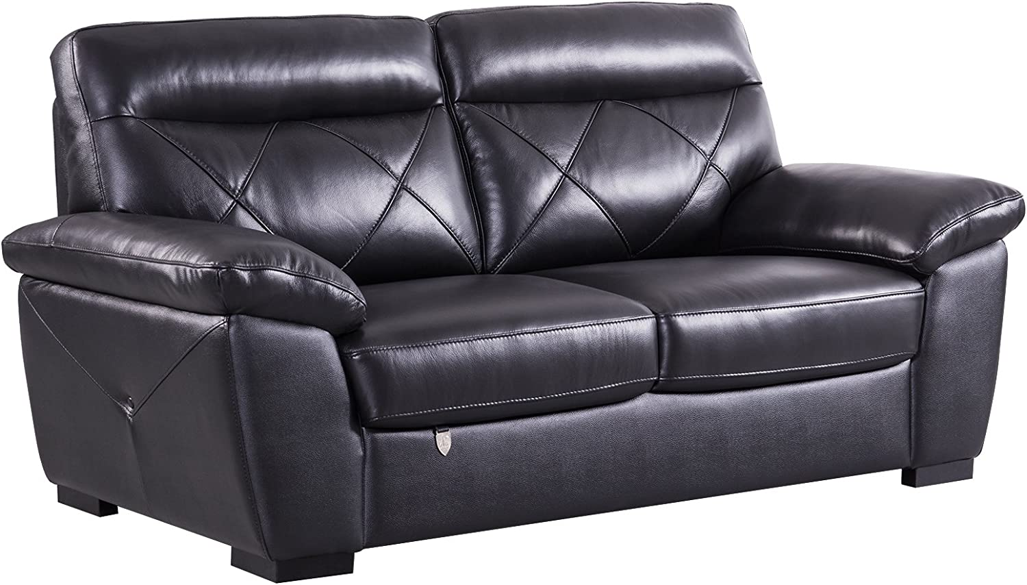 """American Eagle Furniture Modern Contemporary Italian Leather Upholstered Living Room Loveseat, 72"""", Black"""