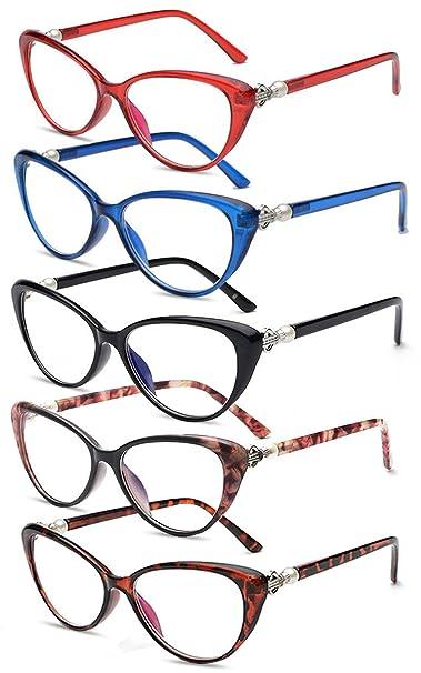 VEVESMUNDO Gafas de Lectura Mujer Hombre Vintage Ojo de Gato Grande Flores Leer Vista Graduadas Presbicia 1.0 1.5 2.0 2.5 3.0 3.5 4.0 Negro Rojo Azul ...