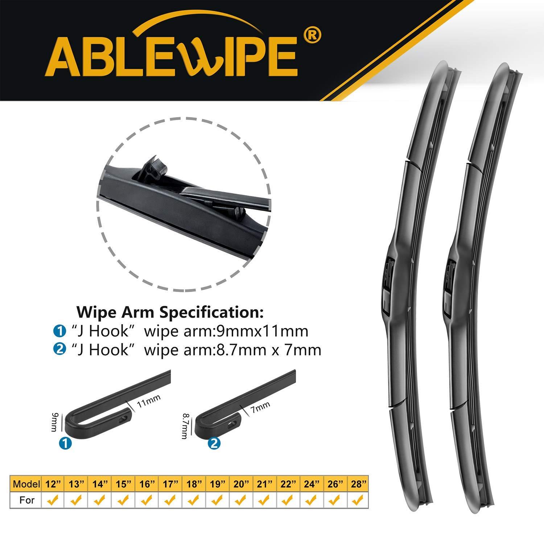 19 PREMIUM Quality Car Windshield Wiper Blades Set of 2 ABLEWIPE Hybrid 19