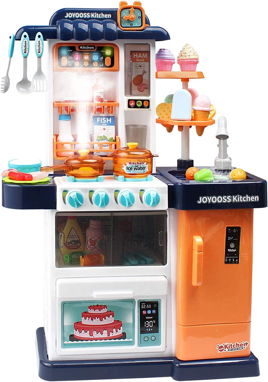 Joyooss Toy Kitchen for Toddler, 43 PCS Kids Kitchen Set with Play Sink with Running Water, Realistic Light & Sound, Temperature Sensing Play Food for Boys & Girls - Blue
