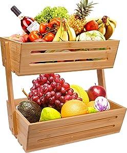 Lawei 2 Tier Bamboo Fruit Basket - Vegetable Storage Stand Countertop Bread Rack for Fruit Vegetables Snacks Bread