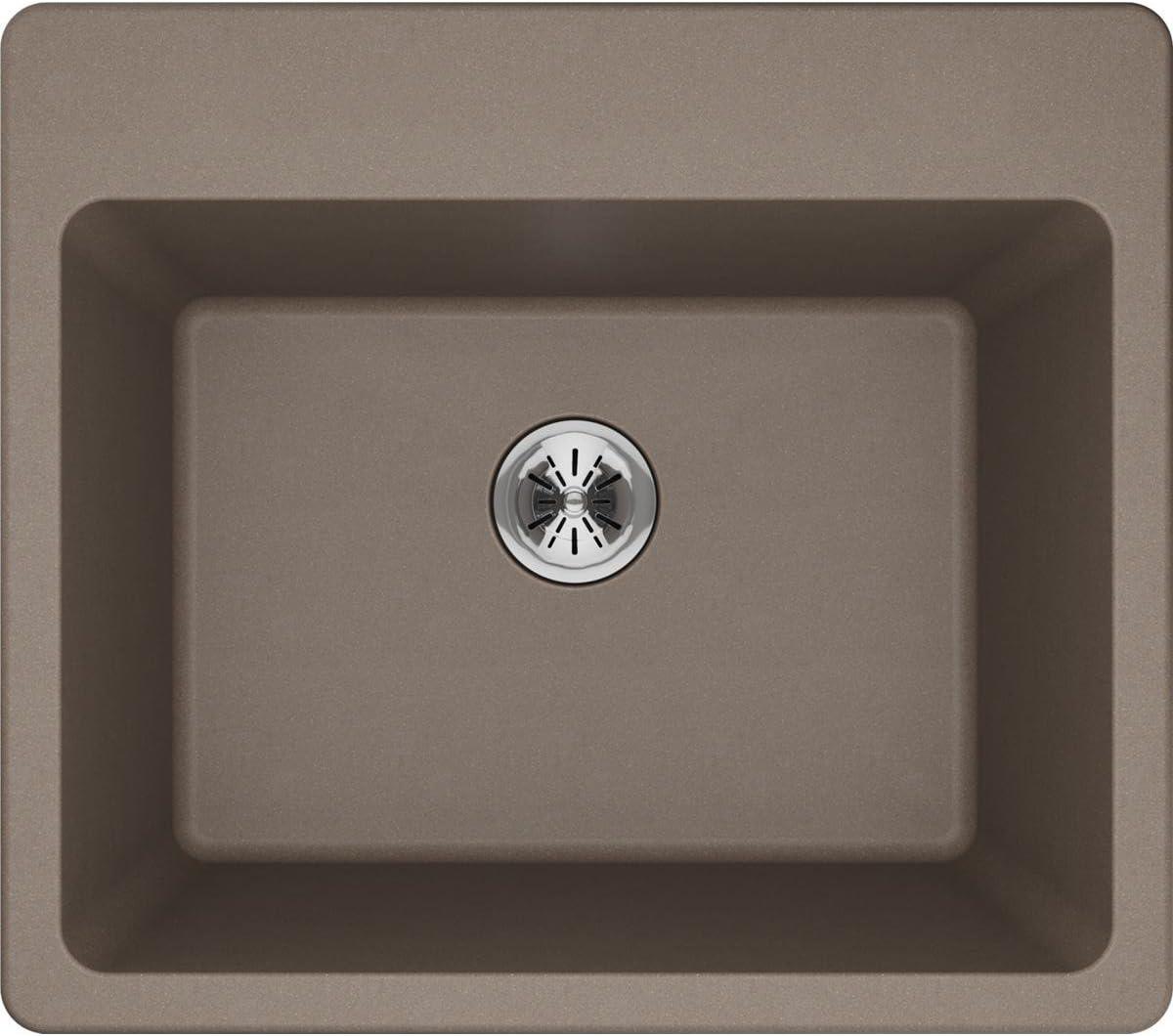Elkay Quartz Classic ELG252212PDGR0 Greige Single Bowl Top Mount Laundry Sink with Perfect Drain