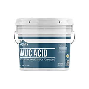 Malic Acid Powder, 1 Gallon Bucket (8 LBS) by Earthborn Elements, Boost Energy Production, Alpha Hydroxy Acid, Help with Muscle Pain & Soreness, Replenish & Repair Skin, Resealable Bucket