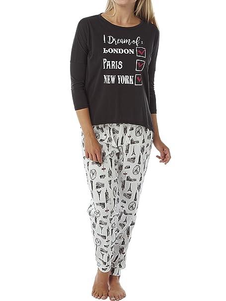 Womens Indigo Sky Pyjamas City Breaks Black/Cream 10-12