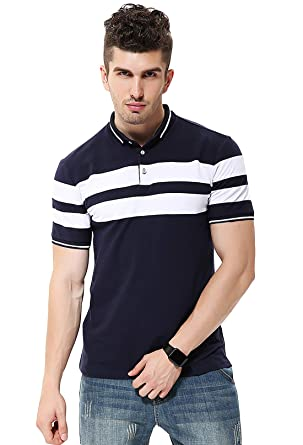 1950f4483 fanideaz Mens Cotton Half Sleeve Striped Polo T Shirt with Collar   Amazon.in  Clothing   Accessories