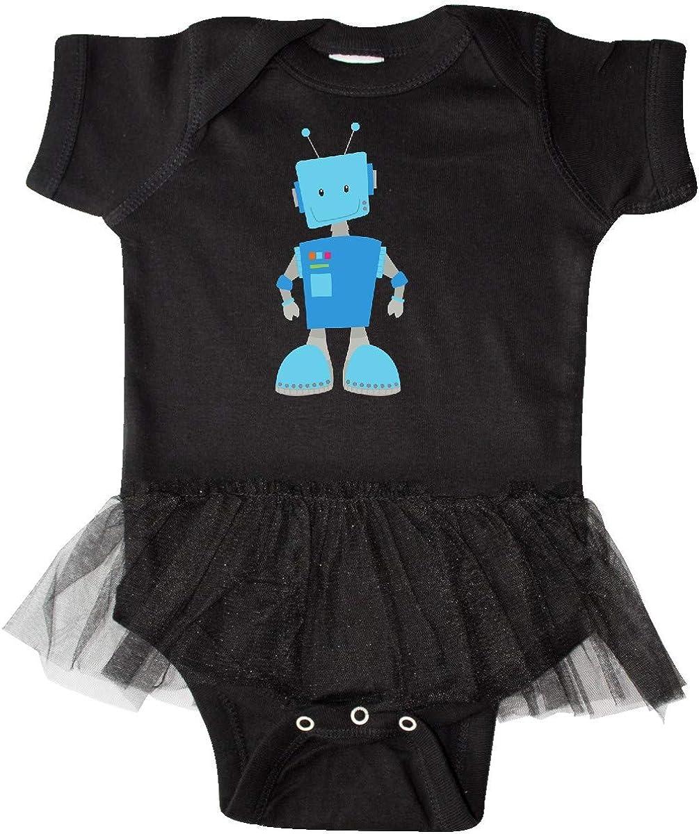 Smiling Robot inktastic Cute Robot Blue Robot Infant Tutu Bodysuit