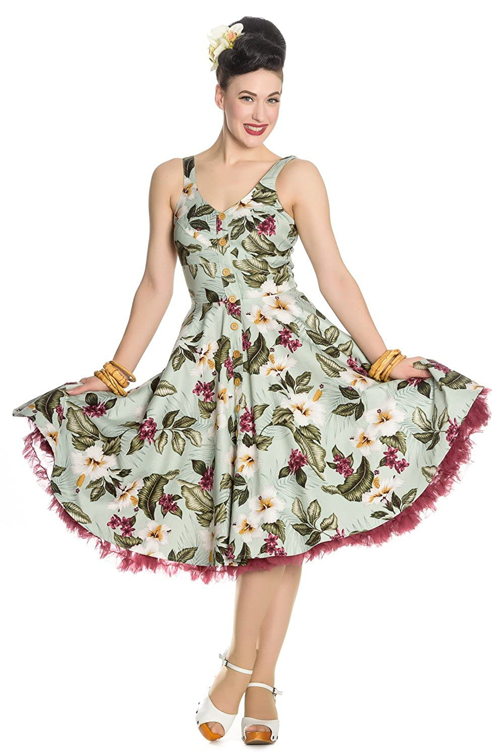 500 Vintage Style Dresses for Sale | Vintage Inspired Dresses Hell Bunny Tahiti Tropical Floral 50s Vintage Rockabilly Flare Swing Party Dress $61.99 AT vintagedancer.com