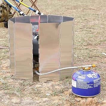 Plegable 10 Placas Cocina Barbacoa Estufa de Gas Pantalla del Escudo del Viento Picnic Plegable al Aire Libre Camping Cocina Estufa Pantalla del Viento: ...