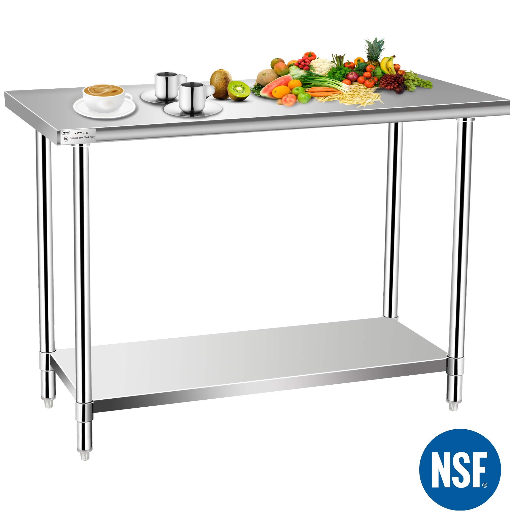 Commercial Kitchen Prep & Work Table, KITMA Stainless Steel Food Prep Table, 48 x 24 Inches,NSF
