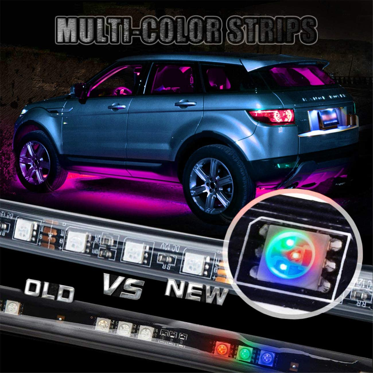 High Intensity LED Rock Lights w//Sound Active Function and Wireless Remote Control EJs SUPER CAR 4PCs Car Neon Underglow Underbody LED Light Kit Undercar Strip Lighting