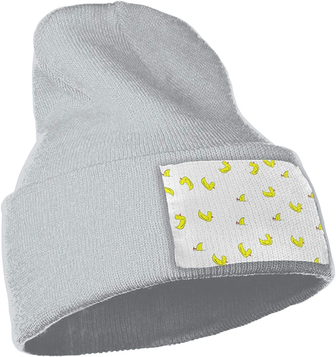 Yellow Duck Hat for Men and Women Winter Warm Hats Knit Slouchy Thick Skull Cap Black