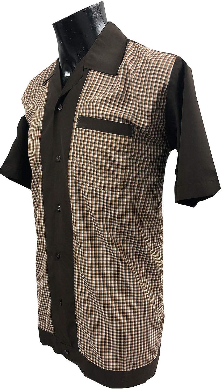 Rockabilly Fashions - Camisa informal para hombre, diseño retro de bolos de los años 50 y 60, color marrón: Amazon.es: Ropa y accesorios