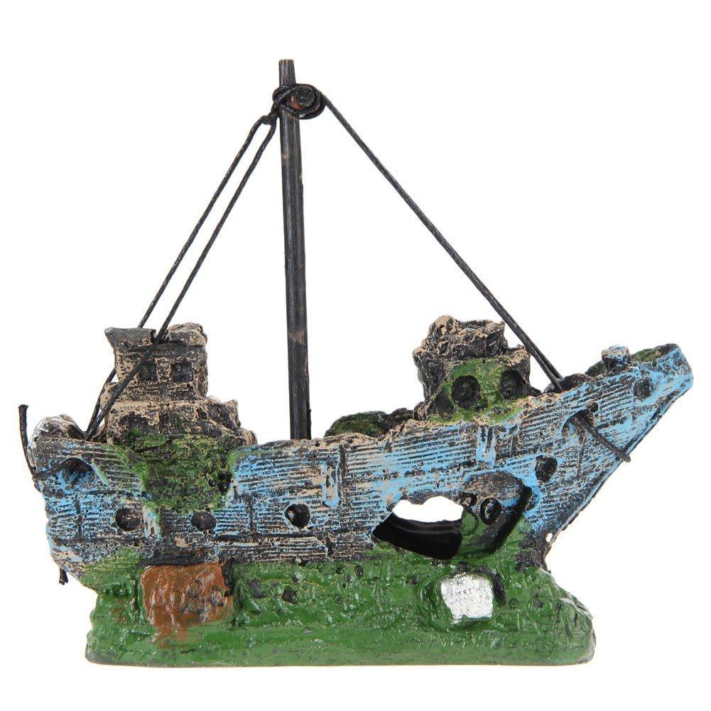 Dcoracion de Tanque de Pez Fish Tank Ornamento del R Barco de Pesca del Ornamento del Acuario Decoracion Para Fish Tank SODIAL