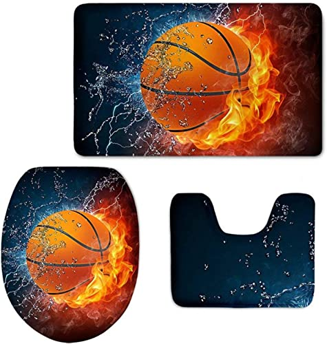 WELLFLYHOM Basketball Toilet Lid Cover Set 3 Piece Bathroom Carpet