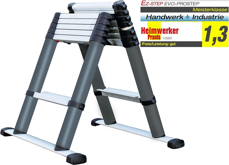 EZSTEP 223000 - Escalera de Aluminio EVO-PROSTEP 0,74 - 2,3 m, 6 + 2 peldaños, utilización: Escalera telescópica: Amazon.es: Bricolaje y herramientas