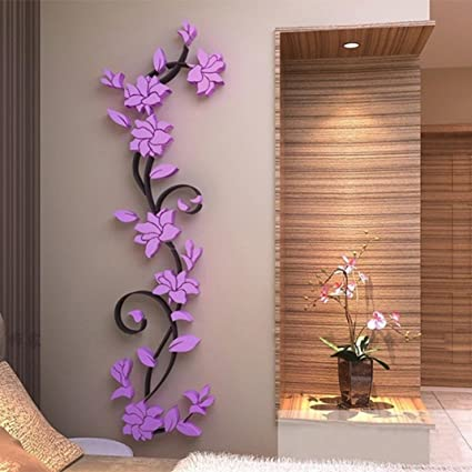 Crystal Floral Wall Stickers 3D Wallpaper Wall Decor DIY For Bedroom Living  Room Bathroom (Purple