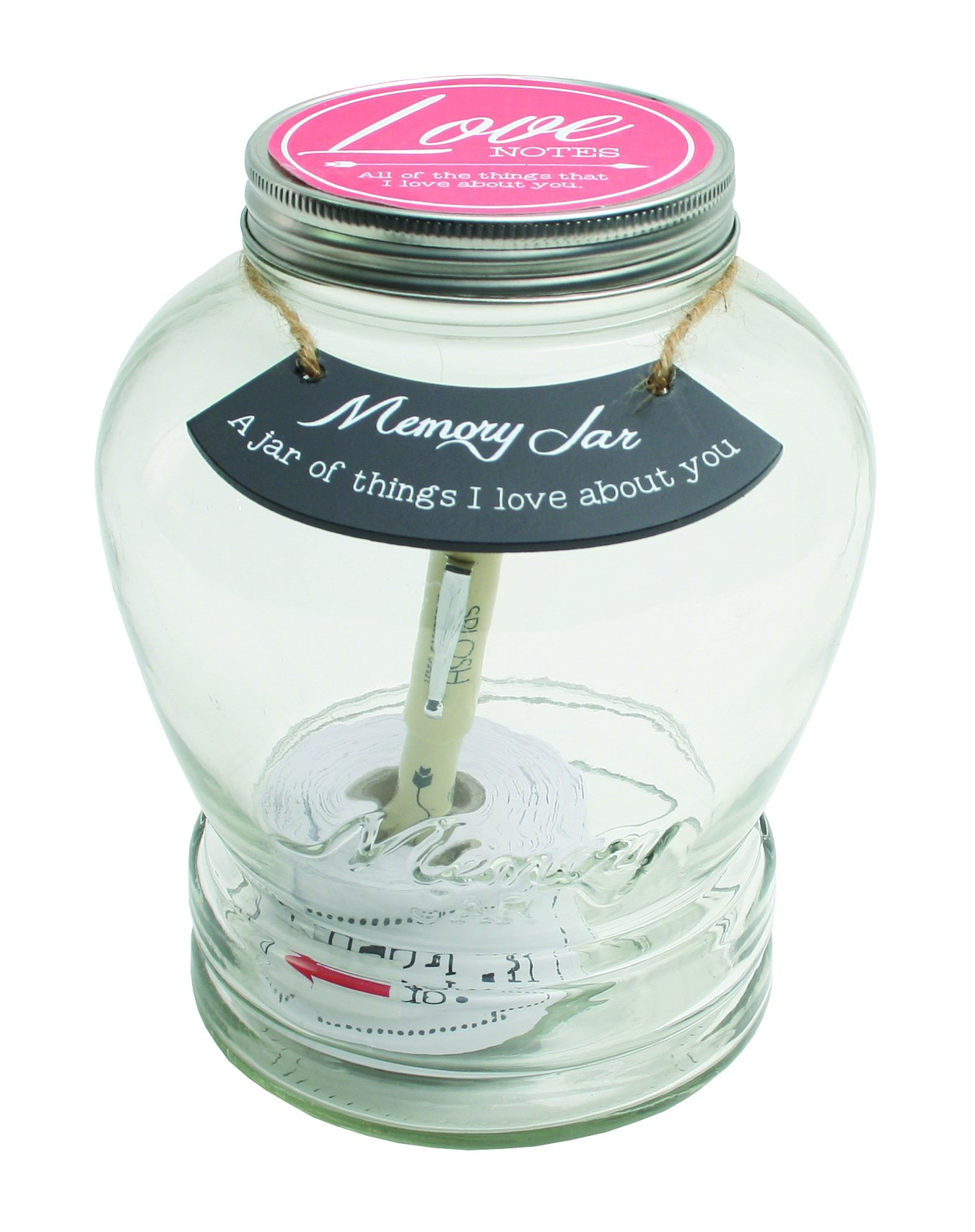 Top Shelf TS-MJ001 Love Notes Memory Jar ; Unique and Thoughtful Gift Ideas for Husband and Wife ; Romantic Gifts ; Memorable Keepsakes ; Kit Comes with 180 Tickets and Decorative Lid