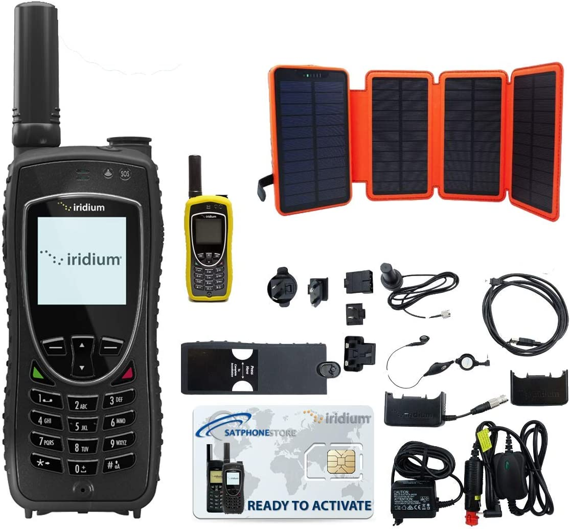 SatPhoneStore Iridium 9575 Extreme Satellite Phone Hiker Package with Solar Charger, Protective Case and Blank Prepaid SIM Card Ready for Easy Online Activation