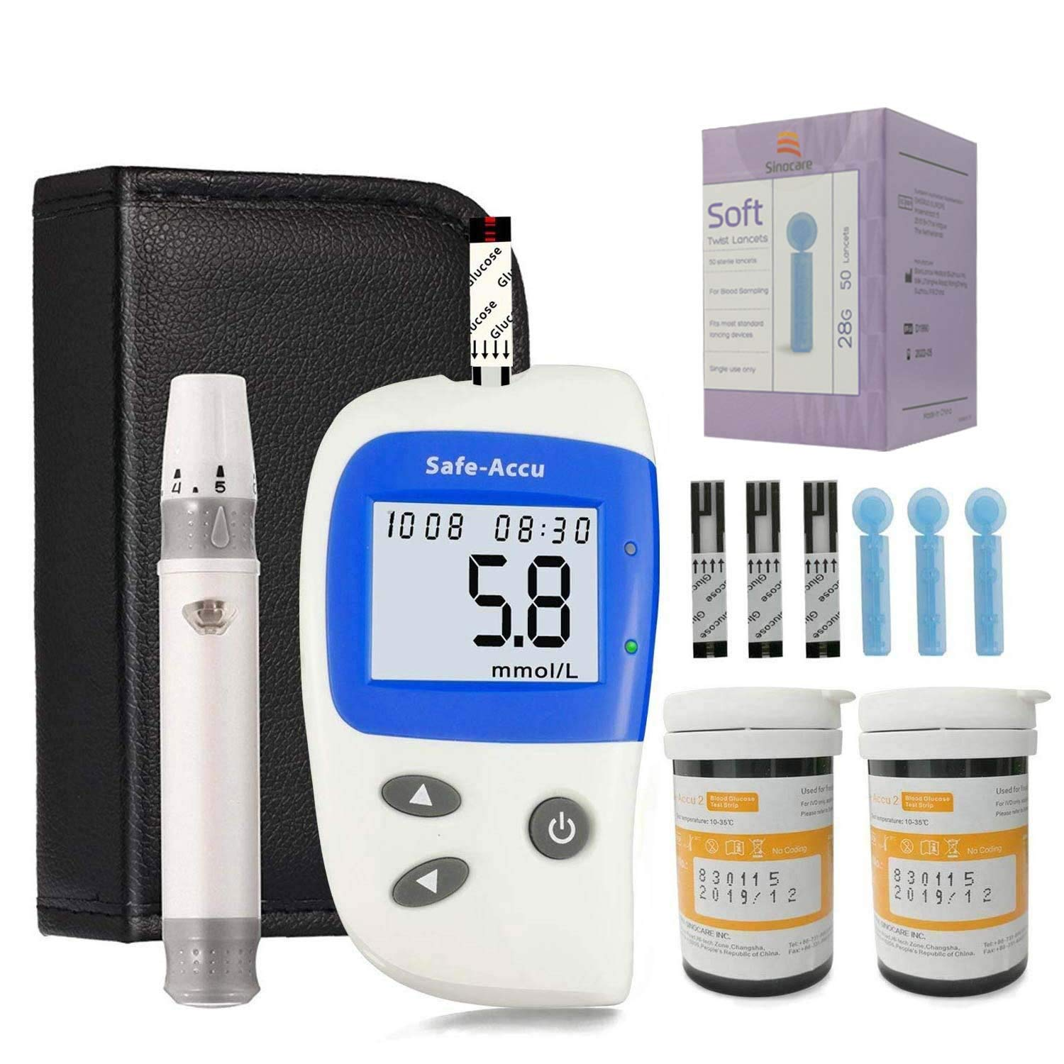 c5d3ffd46fc7 Blood Glucose Testing Kit Diabetes Test Kit Blood Sugar Monitoring Testing  Kit with 50 Codefree Test Strips + 50 Lancets + Lancing Device + Case for  UK ...