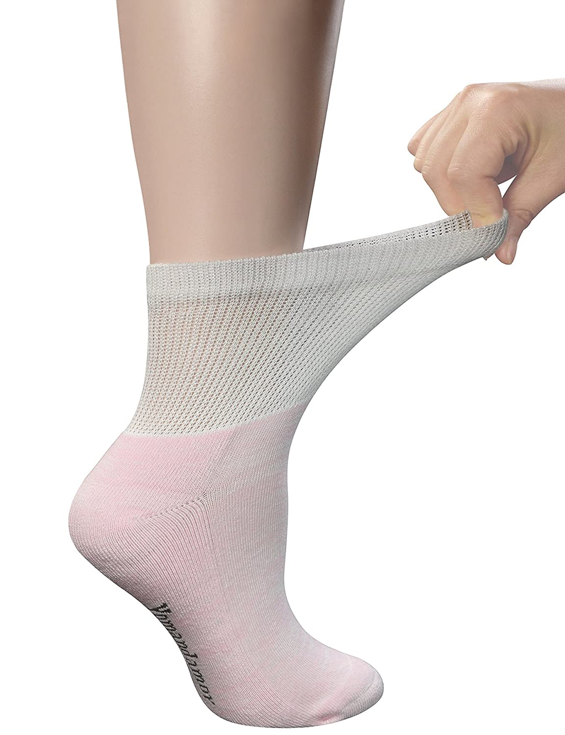 518e5c0e46 Yomandamor Women's 6 Pairs Bamboo Ankle Socks with Non-Binding Top And  Cushion Sole, L Size(Socks Size:9-11) at Amazon Women's Clothing store: