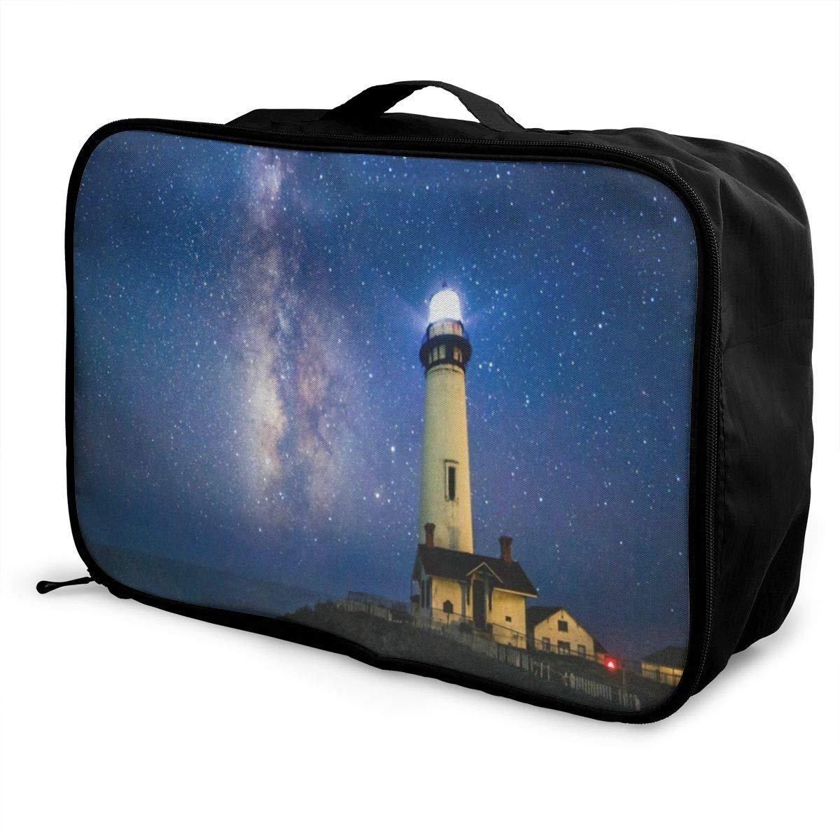 Luggage Bag Travel Duffel Bag Waterproof Starry Night Lighthouse Lightweight Large Capacity Portable Storage Bag