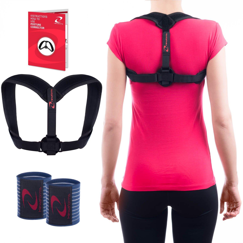 Hexaforms Back Posture Corrector for Women & Men – Posture Brace for Upper Back and Shoulder Pain - Clavicle Brace - Effective and Comfortable Back Brace Support for Medical Problems