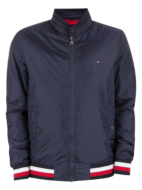 0df06bf2 Tommy Hilfiger Men's Erol Logo Bomber Jacket, Blue: Amazon.co.uk: Clothing
