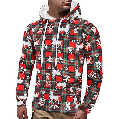 Heligen Mens Christmas Hooded Sweater Casual Xmas Bohemian Printed Long  Sleeve Pullover Sweatshirt Hoodie Coat Top 6ec28c4da