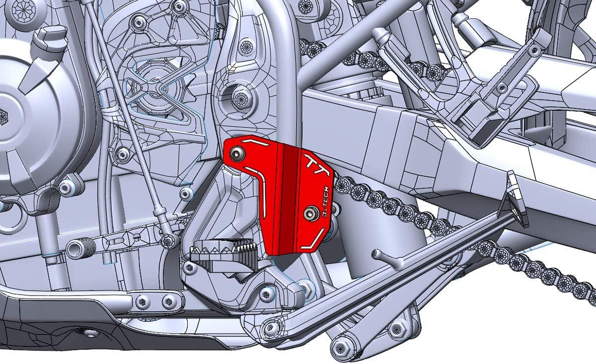 MyTech T/èn/èr/è 700 Protection de talon gauche en aluminium anodis/é rouge pour