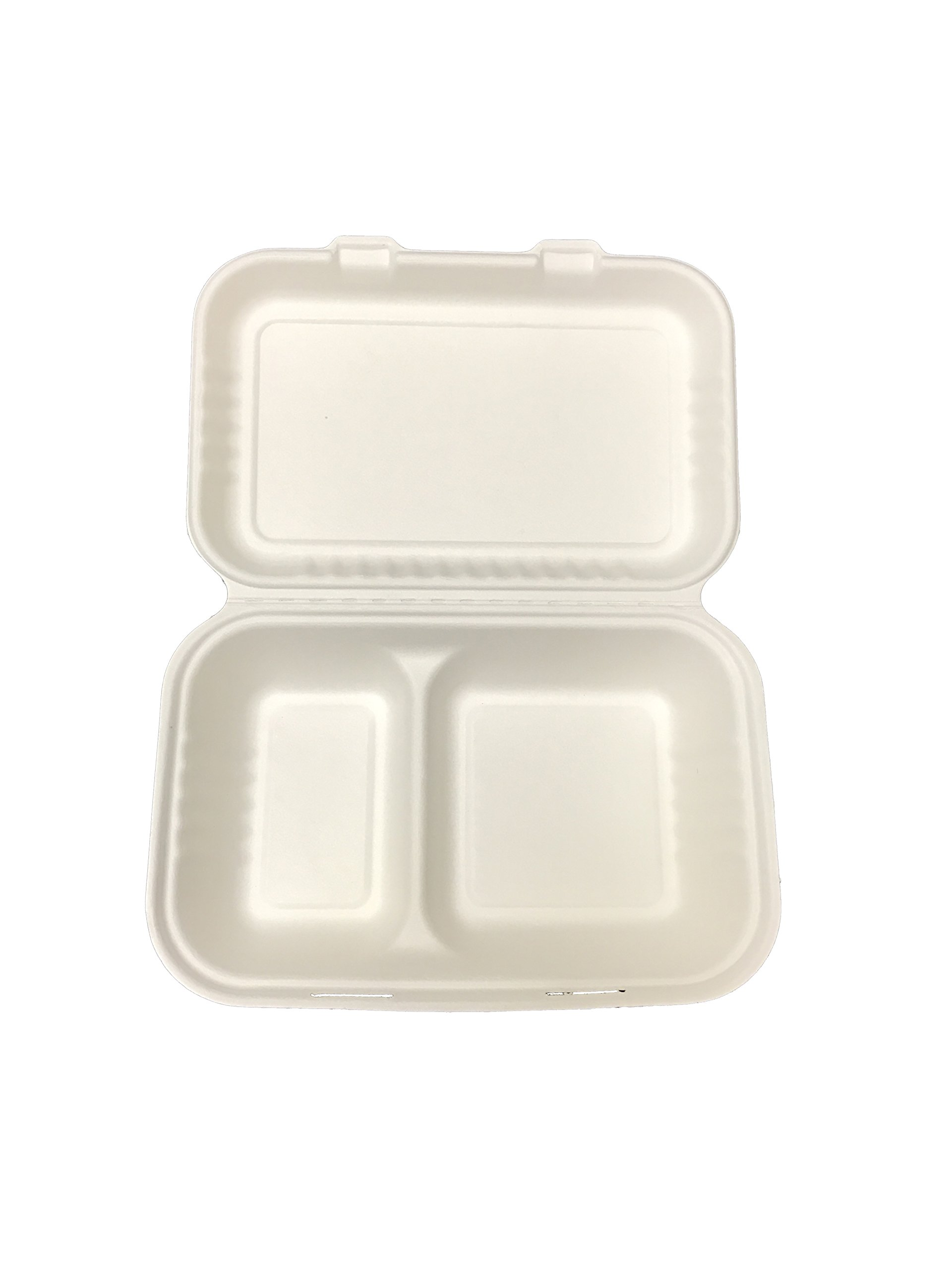 Primeware Bagasse Hinged Lid Container - 2-Section 9 x 6'' - 250/Cs (2 x 125), Not Applicable