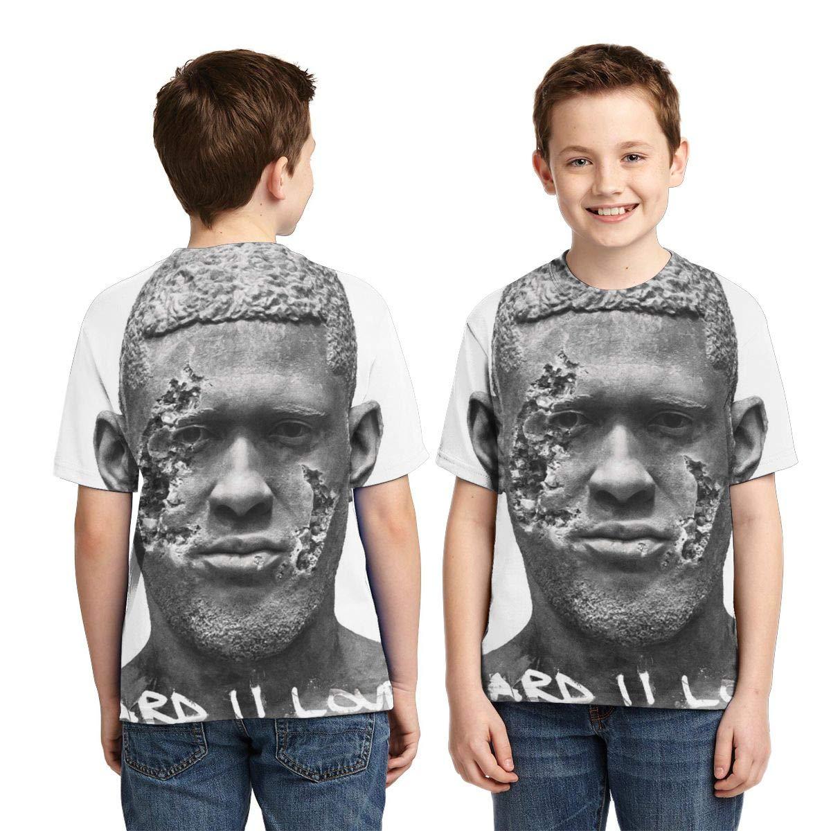 BowersJ Kids Usher Hard II Love Design 3D Printed Short Sleeve T Shirt for Girls /& Boys Black