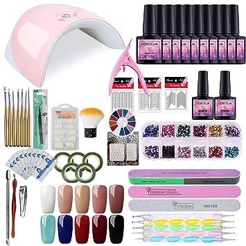 Amazon.com : Saint-Acior Gel Nail Polish Starter Kit LED 36W Nail lamp Dryer Manicure Tools Soak off Gel Polish Base and Top Coat : Beauty
