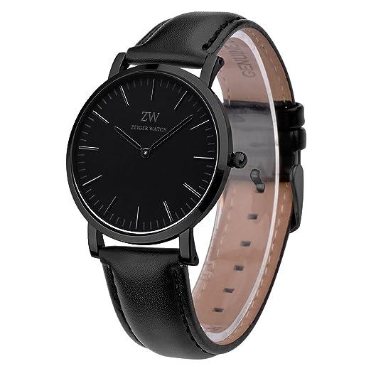 kzkr Classic Hombre Reloj de Pulsera analógico Cuarzo Piel Elegante Hombre Reloj Hombres Relojes: Amazon.es: Relojes