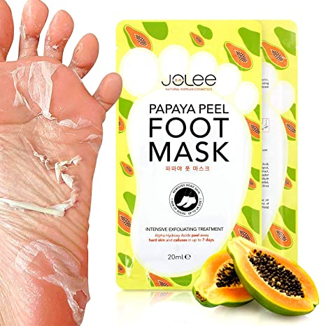 Jolee Calcetines Peel Foot Mask con Extracto de Papaya 1 Par, Slip-On Peel