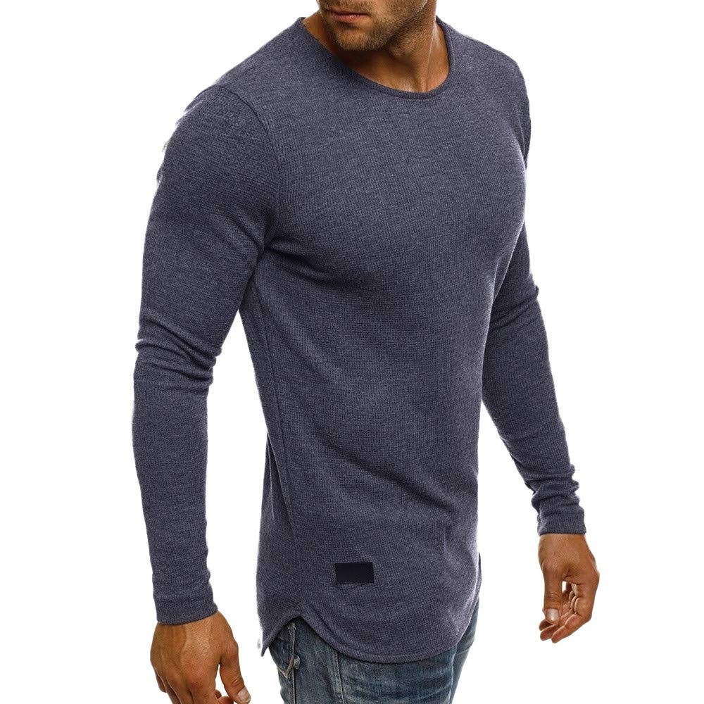 UJUNAOR Herren Pullover Basic O Hals Sweater Männer