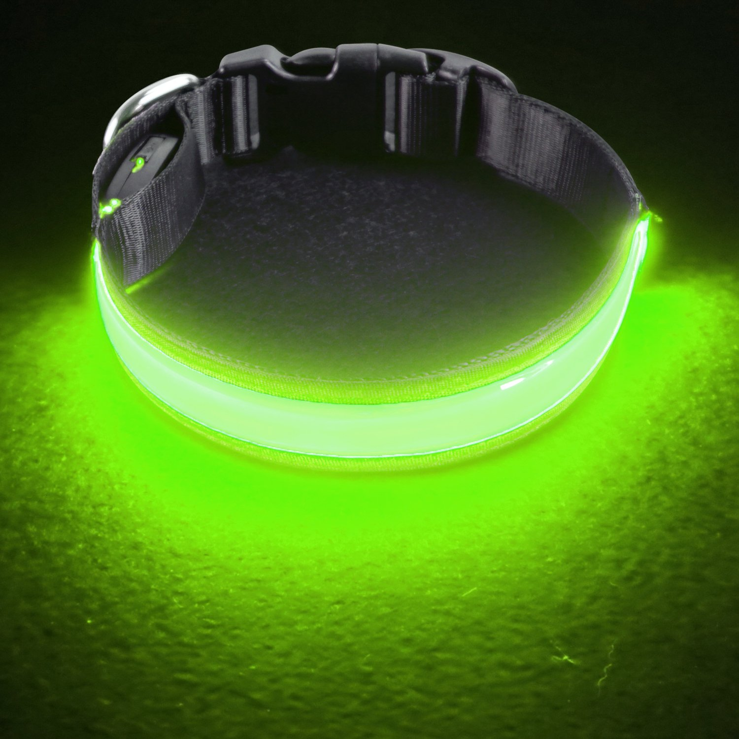 PetIsay Dog Collar Light - USB Rechargeable with Water Resistant 3 Sizes - Fashion Light up Collar Makes Your Dog Visible, Safe & Seen - Neon Green, Medium(17-20.9/43-53cm
