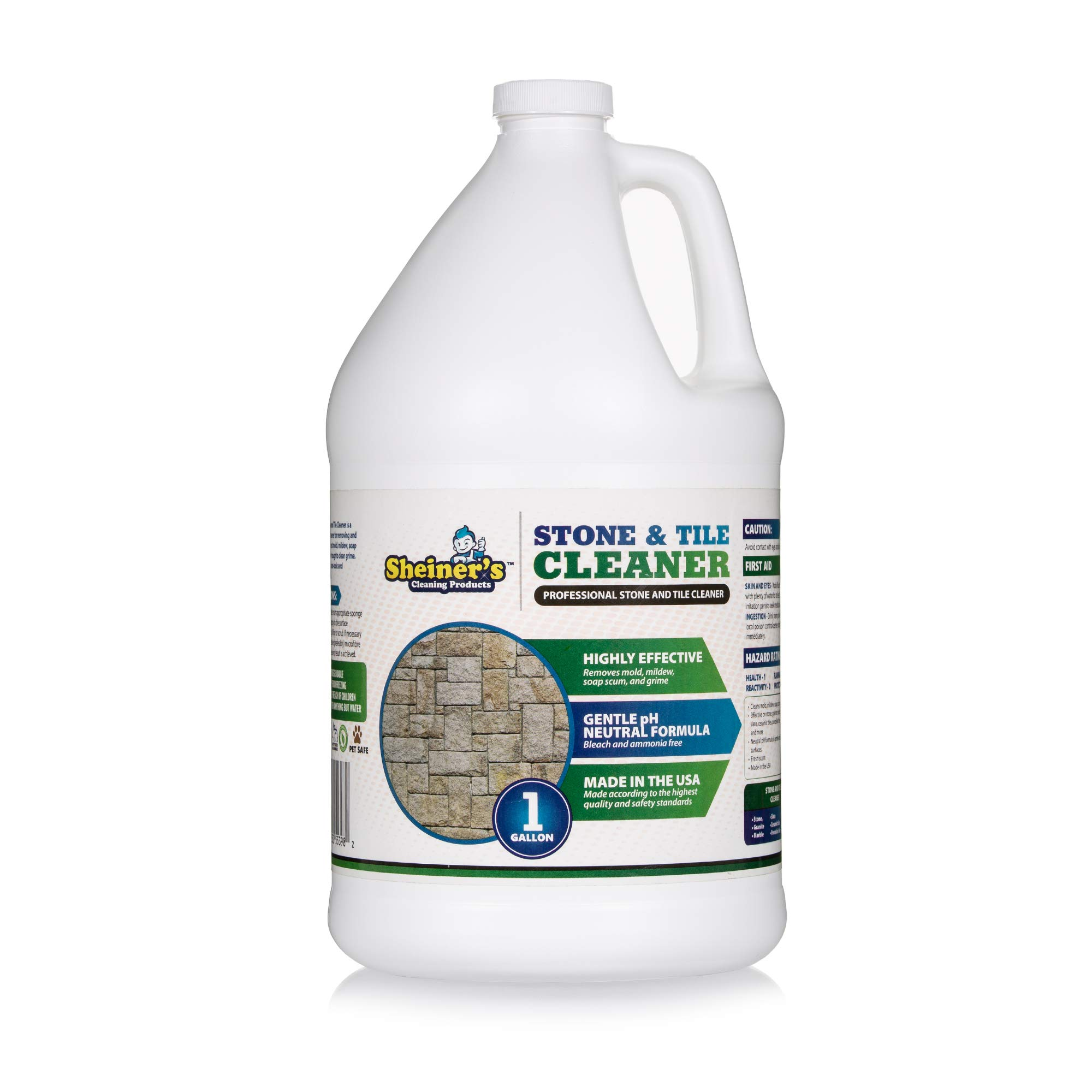 Sheiner's Stone & Tile Cleaner, Heavy Duty Floor Cleaner for Grout, Laminate, Natural Stone, Marble, Granite, Polished Concrete, and Travertine Surfaces,1 Gallon