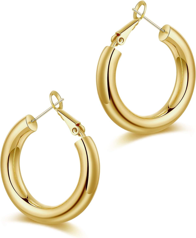 Gold Sliver Chunky Twisted Open Hoop Earrings Hypoallergenic Post Stud Ear Rings Women Hoop Earrings