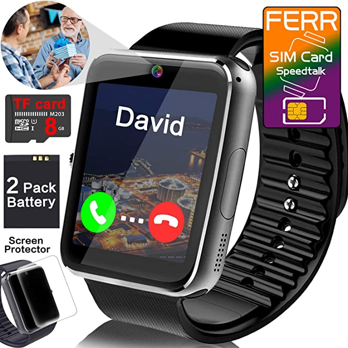 [Smart Watch with SIM TF Card Slot] Android Wrist Watch for Men Women / Touch Screen Smart Phone Watches with Music Player Camera Pedometer Calendar / ...