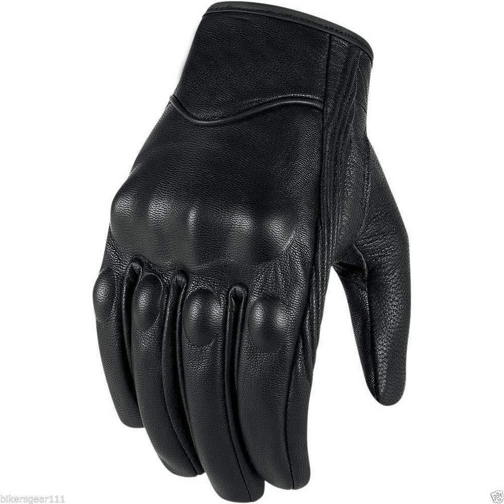Short Black Leather Harley Style Cruiser Gloves Thermal with Hipora Waterproof Liner Australian Bikers Gear SHWIN-M