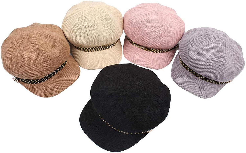Street Summer Outdoor Visor Baseball Adjustable Newsboy Button Cap Rope Casual Spring Sun Hat Women Octagonal