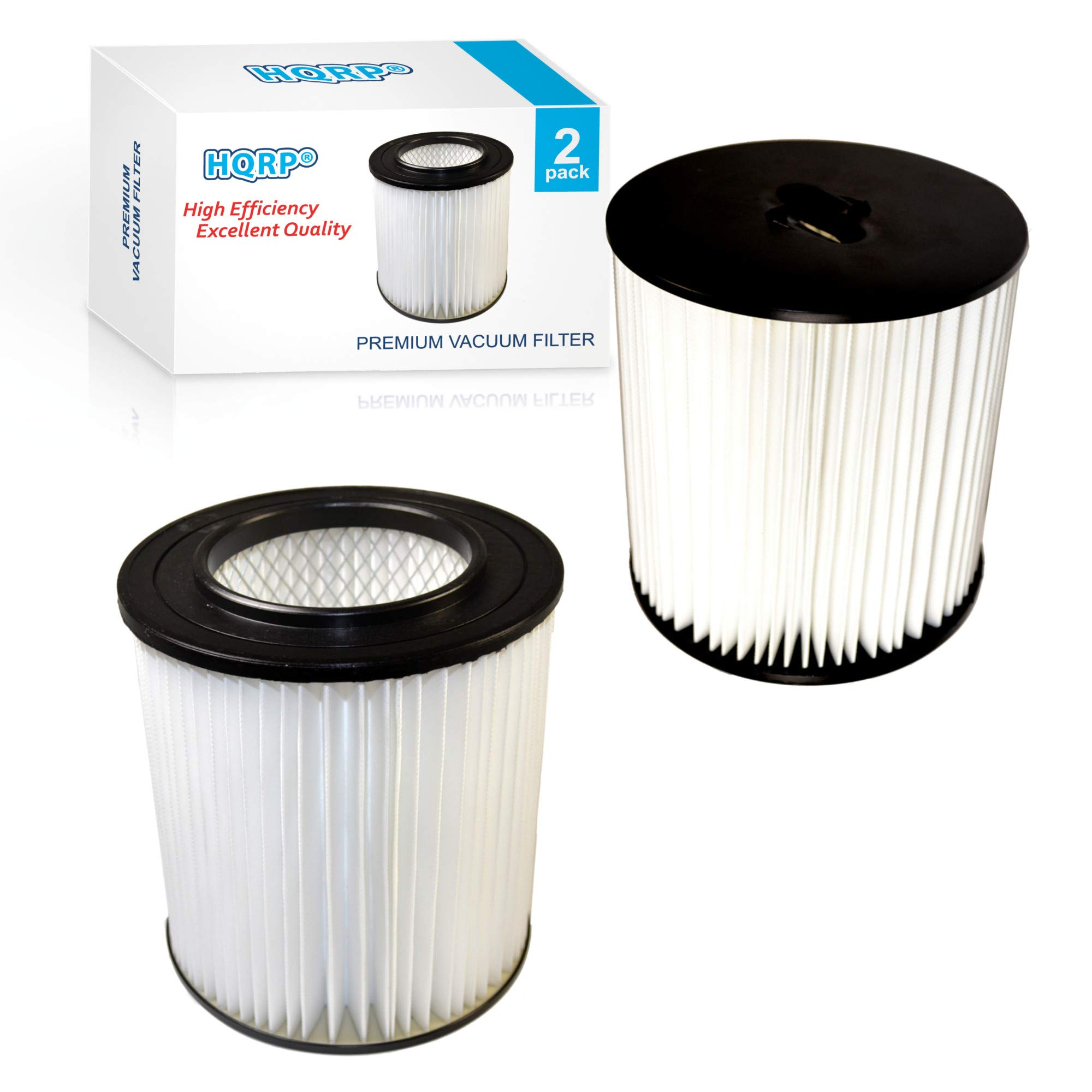 HQRP 2-Pack 7'' Filter Compatible with VACUFLO FC300, FC550, FC650, FC310, FC520, FC530, FC540, FC610, FC620, FC670 H-P Central Vacuum Systems, 8106-01 Replacement by HQRP