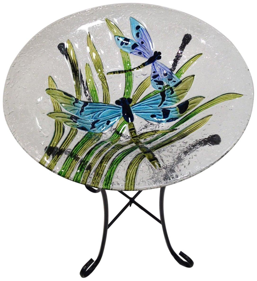 Continental Art Center CAC2409641 Bird Bath Glass Bowl, 13 by 2-Inch, Dragonflies