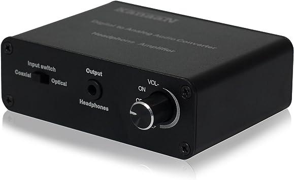 KanaaN Convertidor Sonido de Digital a Analógico con amplificador para auriculares   SPDIF/Toslink y clavija 3,5 mm   Amplificador de auriculares/cascos: Amazon.es: Electrónica