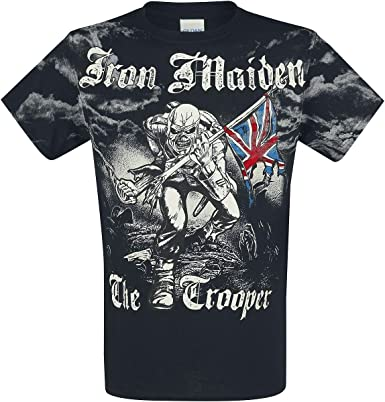 Iron Maiden Trooper - Allover Camiseta Negro M