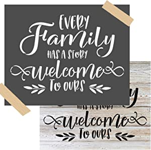 OCCdesign Every Family Has a Story Sign Stencils -Rustic Farmhouse Inspirational Template for Painting Spraying Crafts Décor