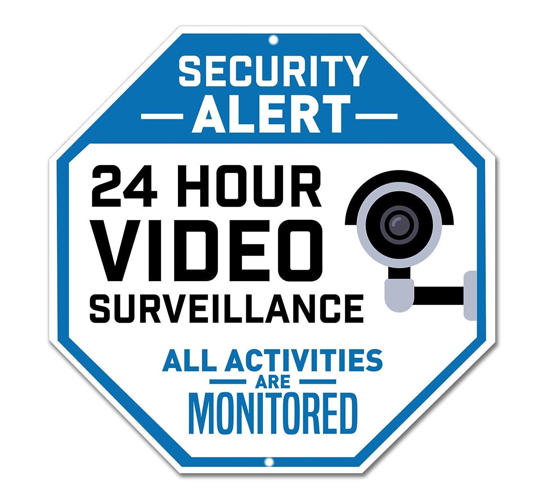 Video Surveillance Sign Legend Security Alert Large 12 X 12 Octagon Rust Free 0.40 Aluminum Sign No Trespassing Sign